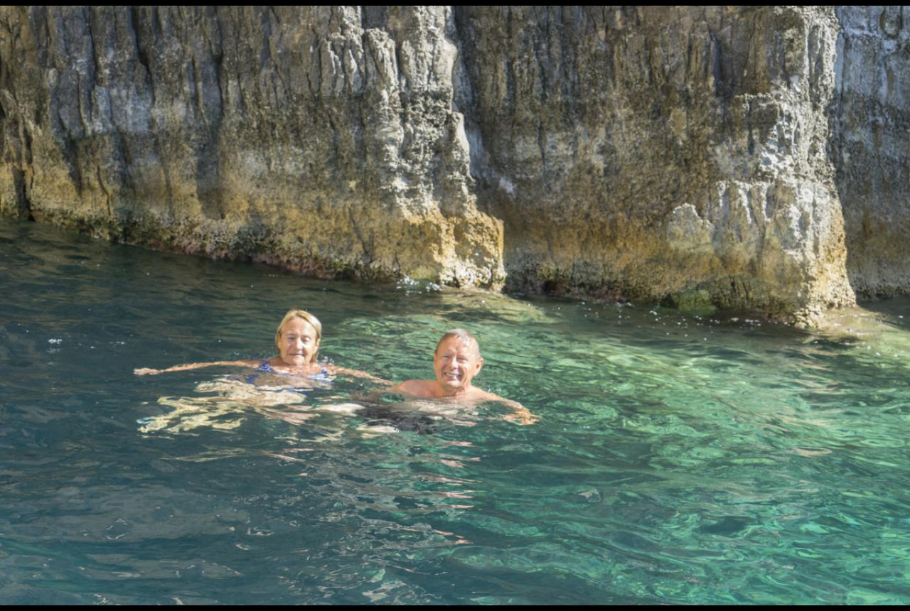 Swimming by the caves